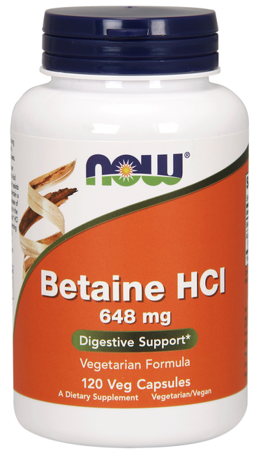Betaine HCL 648mg by NOW 120 Veg Capsules