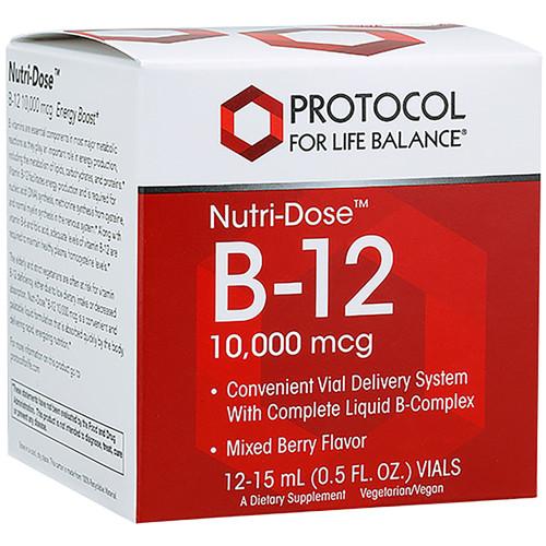 Nutri-Dose B-12 10,000mcg by Protocol for Life Balance 12 vials
