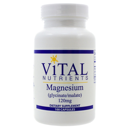 Magnesium (glycinate/malate) 120mg by Vital Nutrients 100 capsules