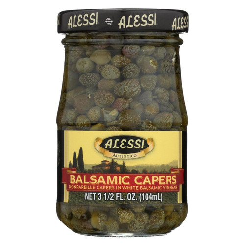 Alessi - Capers In White Balsamic Vinegar - 3.5 Oz - Case Of 6