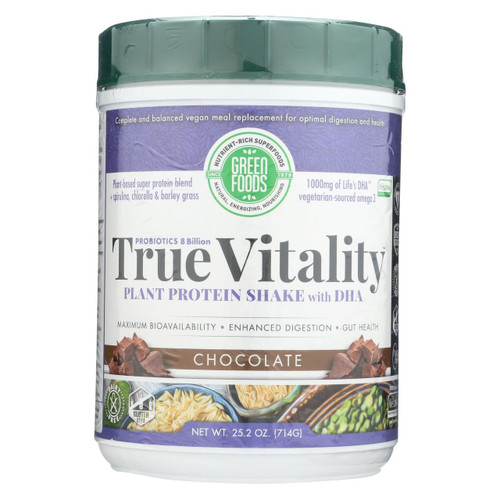 Green Foods True Vitality Plant Protein Shake With Dha Chocolate - 25.2 Oz