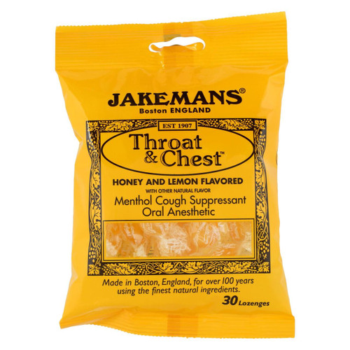 Jakemans Throat And Chest Lozenges - Honey And Lemon - Case Of 12 - 30 Pack - 0965285