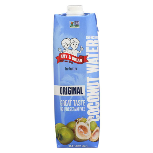 Amy And Brian Coconut Water - Original - Case Of 6 -33.8 Fl Oz.