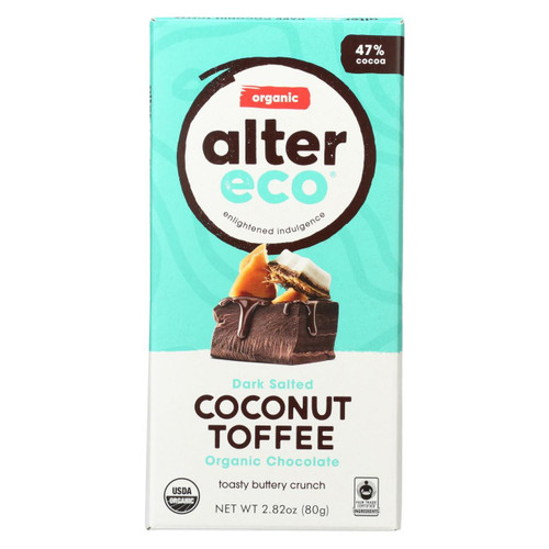 Alter Eco Americas Organic Chocolate Bar - Dark Coconut Toffee - 2.82 Oz Bars - Case Of 12
