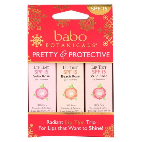 Babo Botanicals - Tinted Lip Balm - Holiday - Case Of 10 - .45 Oz.