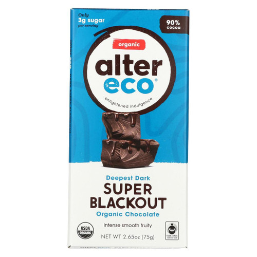 Alter Eco Americas Organic Chocolate Bar - Dark Super Blackout - Case Of 12 - 2.65 Oz