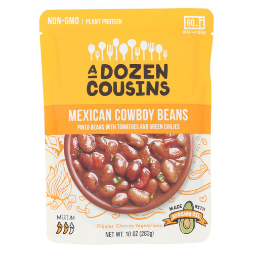 A Dozen Cousins - Ready To Eat Beans - Mexican Pinto - Case Of 6 - 10 Oz.