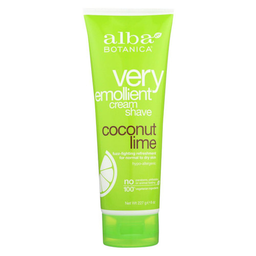 Alba Botanica - Moisturizing Cream Shave For Men And Women Coconut Lime - 8 Fl Oz