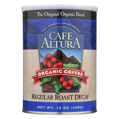 Cafe Altura Organic Regular Roast Ground Coffee - Decaf - Case Of 6 - 12 Oz