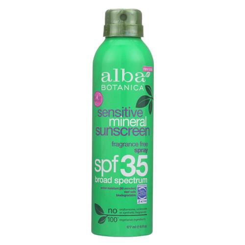 Alba Botanica - Mineral Spray Sunscreen - Fragrance Free - 6 Oz.