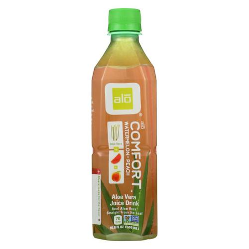 Alo Original Comfort Aloe Vera Juice Drink - Watermelon And Peach - Case Of 12 - 16.9 Fl Oz.