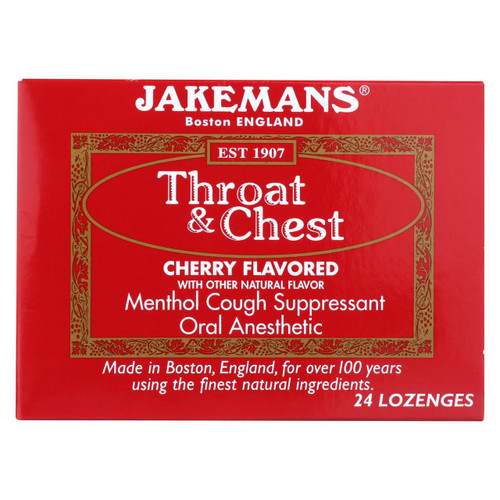 Jakemans Throat And Chest Lozenges - Cherry - Case Of 24 - 24 Pack - 0418558