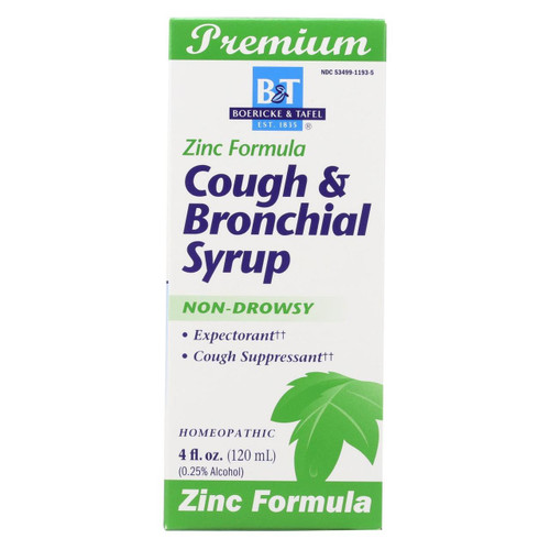Boericke And Tafel - Cough And Bronchitis Syrup With Zinc - 4 Oz
