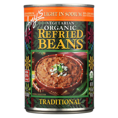 Amy's - Organic Light In Sodium Traditional Refried Beans - Case Of 12 - 15.4 Oz.