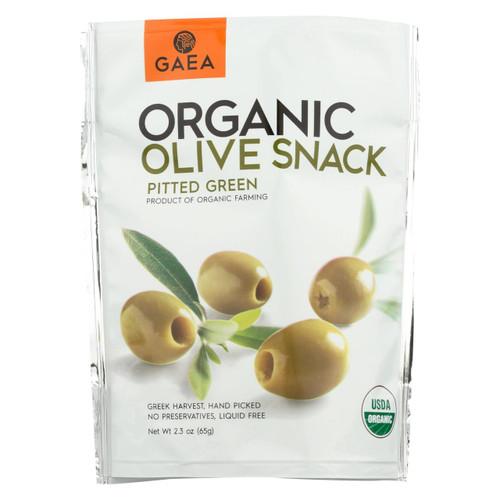 Gaea Olives - Organic - Green - Snack Pk - Case Of 8 - 2.3 Oz
