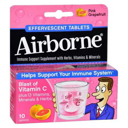 Airborne - Effervescent Tablets With Vitamin C - Pink Grapefruit - 10 Tablets