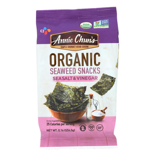 Annie Chun's Seaweed Snack - Sea Salt And Vinegar - Case Of 12 - .16 Oz.