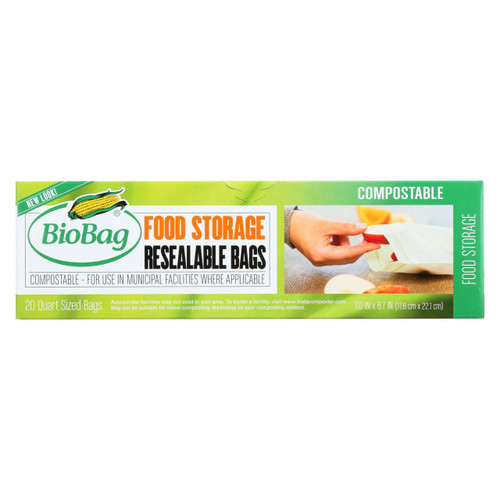 Biobag - Resealable Food Storage Bags - Case Of 12 - 20 Count