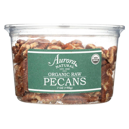 Aurora Natural Products - Organic Raw Pecans - Case Of 12 - 7 Oz.
