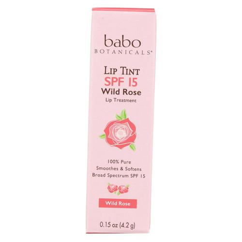 Babo Botanicals - Tinted Lip Balm - Wild Rose - Case Of 12 - .15 Oz.