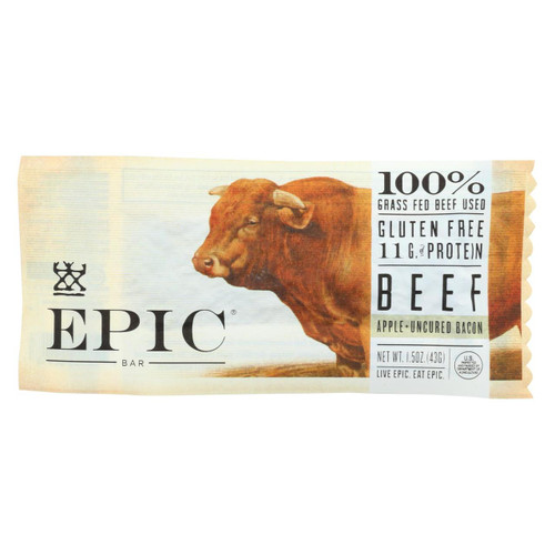 Epic - Bar - Beef - Apple - Uncured Bacon - Case Of 12 - 1.5 Oz