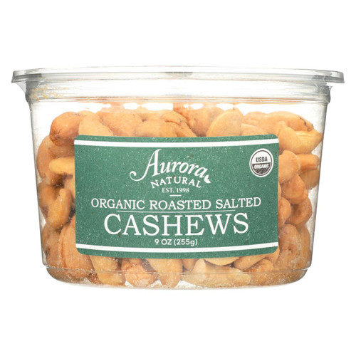 Aurora Natural Products - Organic Roasted Salted Cashews - Case Of 12 - 9 Oz.