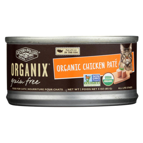 Castor And Pollux Organic Cat Food - Chicken Pate - Case Of 24 - 3 Oz.