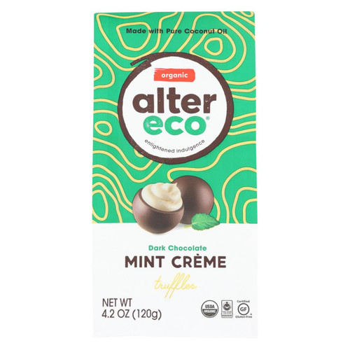 Alter Eco Americas Dark Chocolate Truffles - Mint Creme - Case Of 8 - 4.2 Oz.