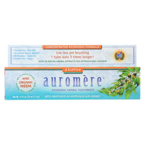 Auromere Toothpaste - Licorice - Case Of 1 - 4.16 Oz.
