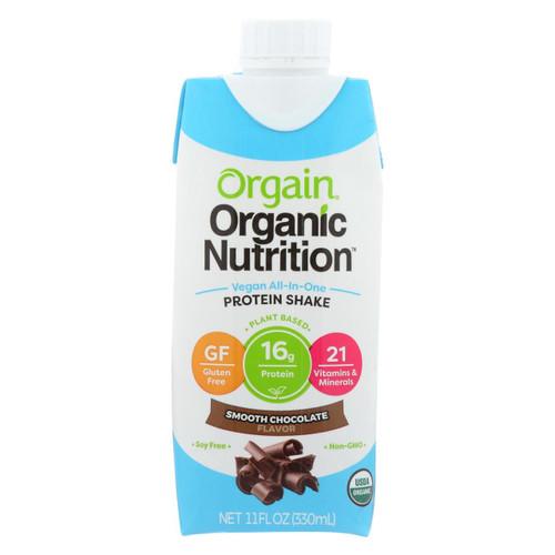 Orgain Organic Vegan Nutritional Shakes - Smooth Chocolate - Case Of 12 - 11 Fl Oz.