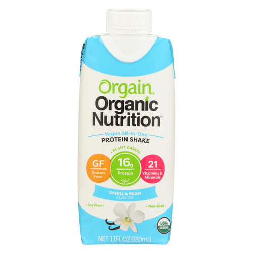 Orgain Organic Nutritional Shakes - Sweet Vanilla Bean - Case Of 12 - 11 Fl Oz.