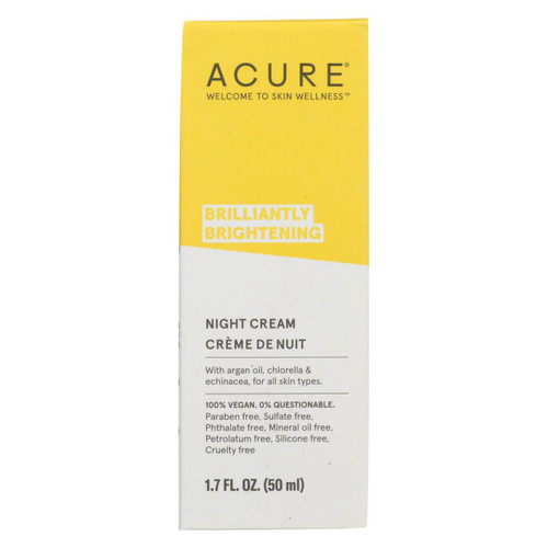 Acure - Night Cream - Argan Extract And Chlorella - 1.75 Fl Oz.