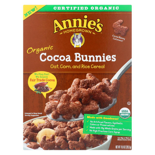 Annie's Homegrown Organic Cocoa Bunnies Oat With Corn And Rice Cereal - Case Of 10 - 10 Oz.