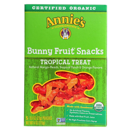 Annie's Homegrown Fruit Snack Tropical Treat - Case Of 10 - 4 Oz