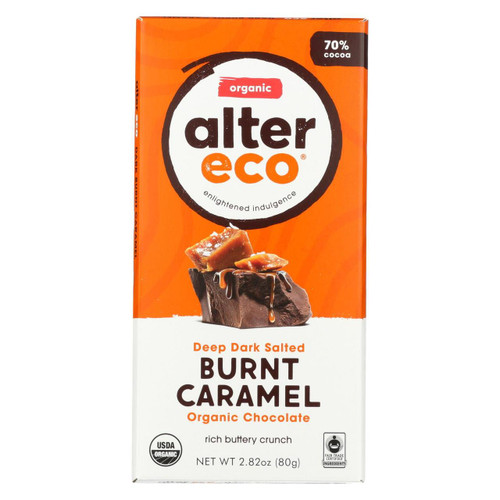 Alter Eco Americas Organic Chocolate Bar - Dark Salted Burnt Caramel - 2.82 Oz Bars - Case Of 12