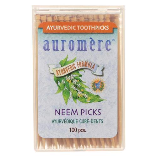 Auromere Ayurvedic Neem Picks - 100 Toothpicks - Case Of 12