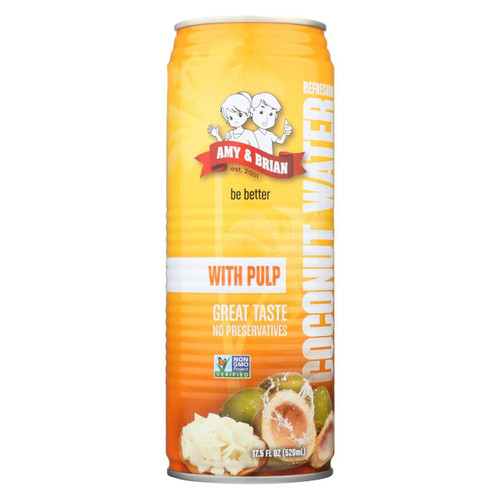 Amy And Brian - Coconut Water With Pulp - Case Of 12 - 17.5 Fl Oz.