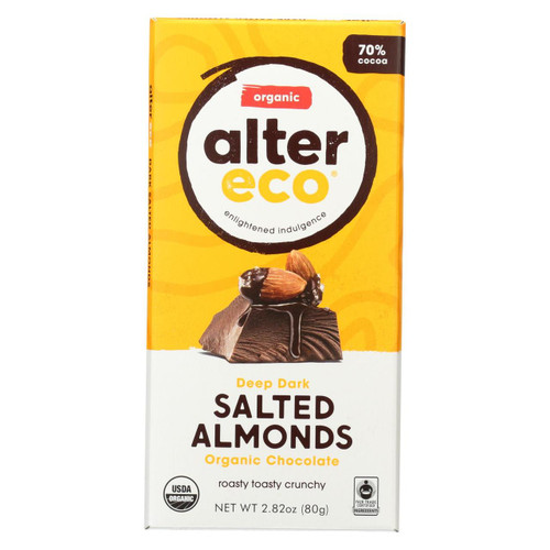 Alter Eco Americas Organic Chocolate Bar - Dark Salted Almonds - Case Of 12 - 2.82 Oz