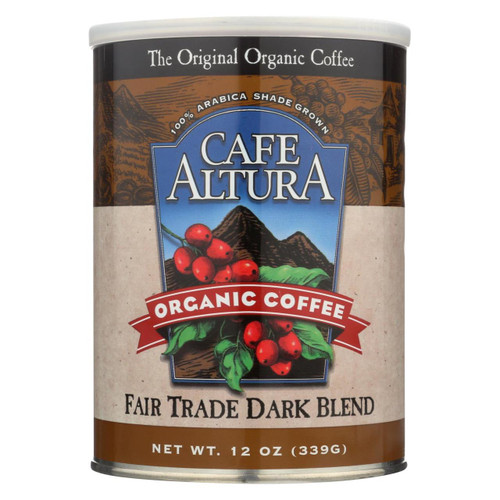 Cafe Altura - 100% Organic Fair Trade Dark Blend Coffee - Case Of 6 - 12 Oz