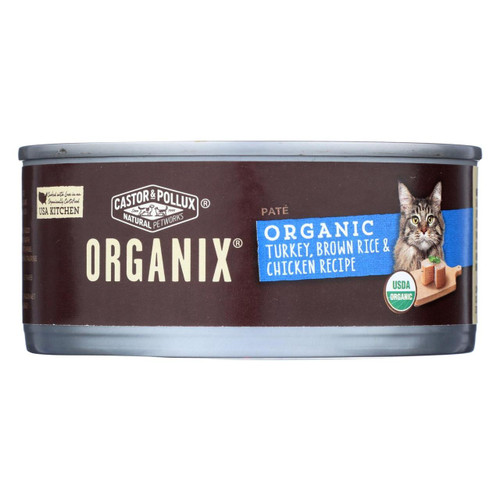 Castor And Pollux Organic Cat Food - Turkey Brown Rice And Chicken - Case Of 24 - 5.5 Oz.
