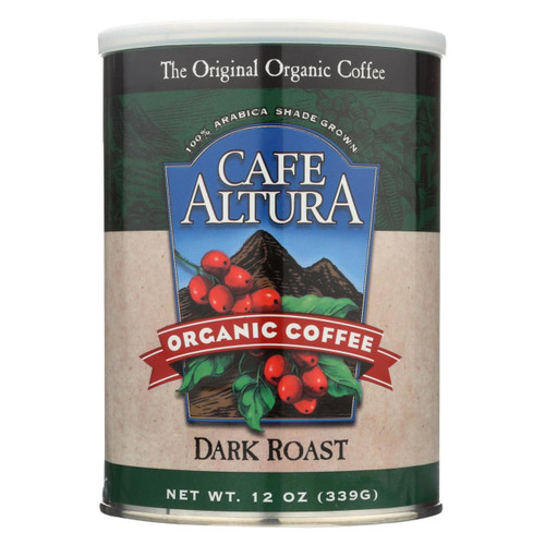 Cafe Altura - Organic Ground Coffee - Dark Roast - Case Of 6 - 12 Oz.