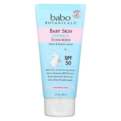 Babo Botanicals - Baby Skin Mineral Sunscreen - Spf 50 - 3 Oz.