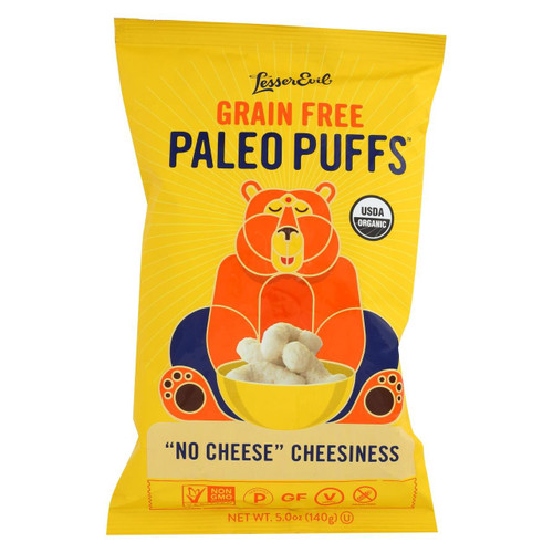 Lesser Evil Puffs - Crunchy, No Cheese Cheesiness - Case Of 9 - 5 Oz.