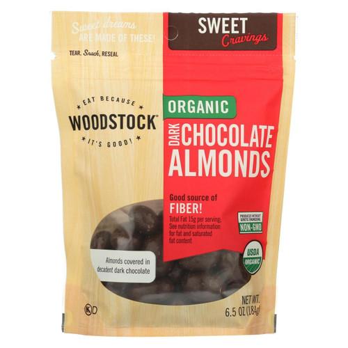 Woodstock Organic Dark Chocolate Almonds - Case Of 8 - 6.5 Oz.