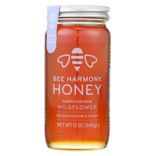 Bee Harmony - Honey - American Raw Wildflower - Case Of 6-12 Oz.