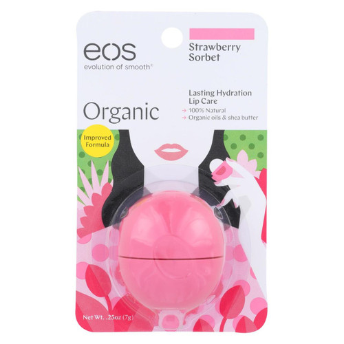 Eos Products - Lip Balm - Strawberry Sorbet - Case Of 6 - .25 Oz.