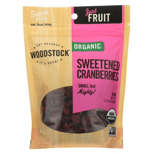 Woodstock Organic Cranberries - Sweetened - Case Of 8 - 5.25 Oz.