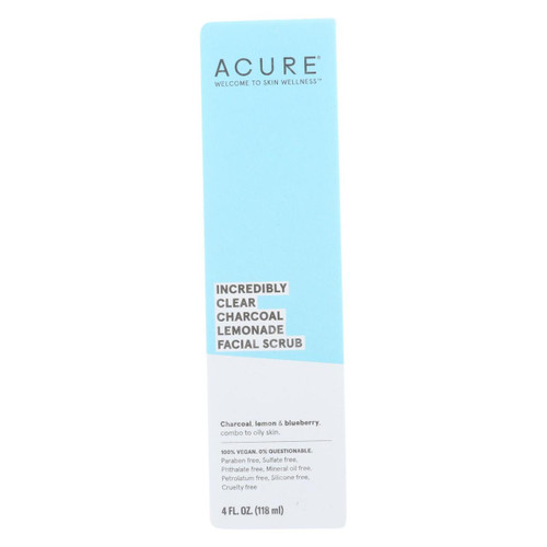 Acure - Charcoal Lemonade Facial Scrub - Incredibly Clear - 4 Fl Oz.