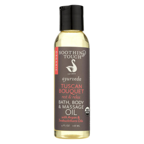 Soothing Touch Bath Body And Massage Oil - Ayurveda - Tuscan Bouqet - Rest And Relax - 4 Oz