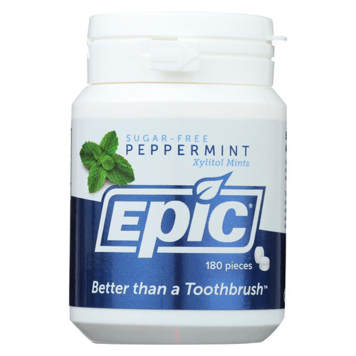 Epic Dental - Xylitol Mints - Peppermint Xylitol Bottle - 180 Ct